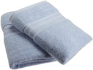 1888 Mills 100-Percent Organic Cotton Oversized Bath Towel Set of 2, Water Blue