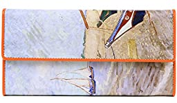 Jiame Trifold Printed Leather Wallet - Van Gogh (Set sail)