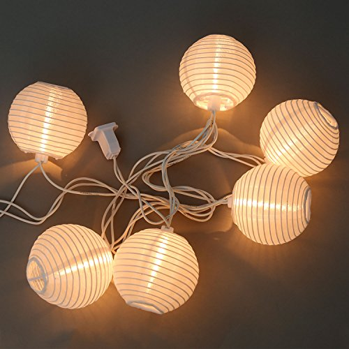 10 ft. White Outdoor String Light, 10 Mini Lanterns, 1 Plugin Strand, Connectable, Water Resistant, Indoor/Outdoor Use, Expandable to 240 Lights