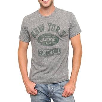 NFL Men's New York Giants Classic Label Short Sleeve Triblend Crew Neck Tee (Steel, Small)