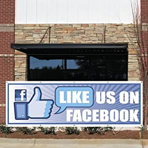 """Business Banner - 3' x 9' """"Like us on Facebook!"""" 10 oz. Vinyl Banner, with Grommets for Hanging"""