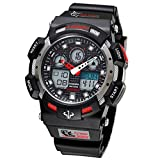 10 ATM Waterproof Analog Digital Sport Watches Dual Time Silicone Band Mens Wrist Watch for Mens Women with Stopwatch Alarm Chronograph (Red)