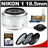 Nikon 1 18.5mm f/1.8 Nikkor Lens (White) with 3 UV/CPL/ND8 Filters + Accessory Kit for J1, J2 & V1 Digital Camera