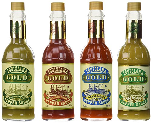 Louisiana Gold Hot Pepper Sauce Sampler Pack of 4 Different Flavors (Louisiana Gold Sauce compare prices)