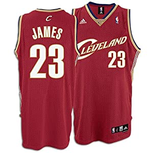 Adidas Cleveland Cavaliers Lebron James Swingman Road Jersey Red by adidas