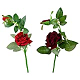 Thefancymart Artificial Rose Flower Plant Set Of 2 Sticks Style Code-85