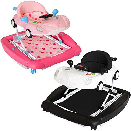 PREMIUM Lauflernhilfe / Babyschaukel mit Spielcenter (12 Melodien) & Tablett (SCHWARZ/WEIß)