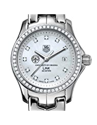 University of Virginia TAG Heuer Watch - Women's Link Watch with Diamond Bezel