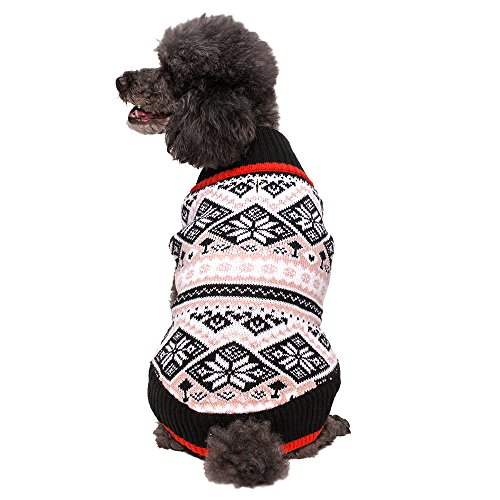 Blueberry Pet Nordic Pattern Inspired Fair Isle Black and White Snowflakes Dog Sweater