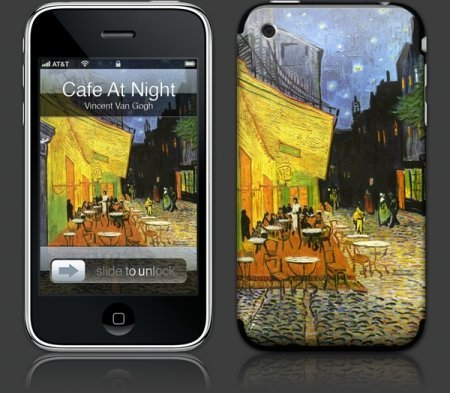 Apple iPhone 3G Premium Vinyl Skin - Cafe at Night (GelaSkins Brand) Made in Canada
