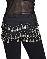 Buy Home Chiffon Dangling Silver Coins Belly Dance Hip Skirt Scarf Wrap Belt