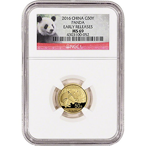2016 CN China Gold Panda (3 g) Early Releases Panda Label 50 Yuan MS69 NGC