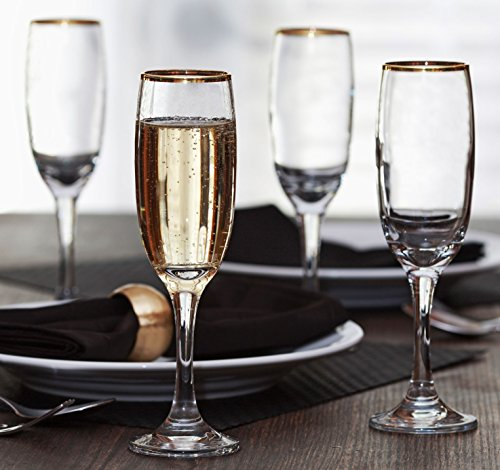 Circleware Imperial Gold Rimmed Glass Champagne wine Toasting Flutes, Set of 4, 8 Ounce, Limited Edition Glassware Barware (Pitcher Sets Gold compare prices)