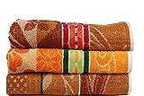 Casa Basics 400 GSM Set Of 3 Jacquard Large Bath Towels 68 X 137 cm- Brown & Yellow...