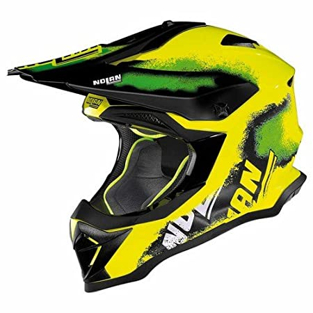 Nolan N 53 LED Lazy Boy de face off road Full Casques, Couleur : Jaune, Taille : XL