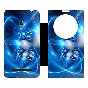 Skintice Designer Flip Cover with Vinyl wrap-around for Asus Zenfone 5 , Design - Blue abstract