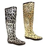 Womens Leopard Print Festival Rain Wellie Boots