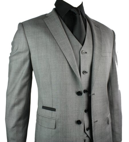 Mens Fitted Suit Grey Check Design 3 Piece Black Trim Work Party Wedding
