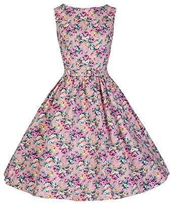 Lindy Bop Classy Vintage Audrey Hepburn Style 1950's Rockabilly Swing Evening Dress (XS, Peach)