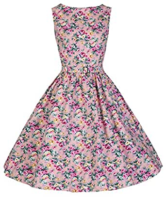 Lindy Bop Robe de Soiree Vintage 1950's Audrey Hepburn. Style Rockabilly. Parfaite Pour Soiree Dansante (46, Peach)