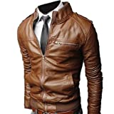 Fancy Dress Store Mens Slim Fit PU Faux Leather Zipper Closure Rider Jacket
