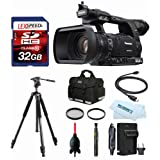 Panasonic AG-AC160APJ HD Camcorder + VANGUARD Abeo 323AV Tripod + Case + 32GB (10) + Filter Kit