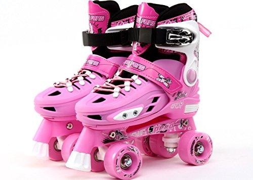 childrens-adults-kids-boys-girls-4-wheel-adjustable-quad-roller-skates-boots-pink-small-uk-11-1-