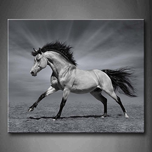 Black And White Chestnut Horse In Motion Black And White Light Wall Art Painting The Picture Print On Canvas Animal Pictures For Home Decor Decoration Gift (Stretched By Wooden Frame,Ready To Hang)