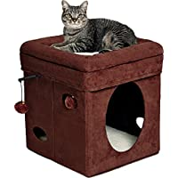 Midwest Curious Cat Cube House (Brown Suede)