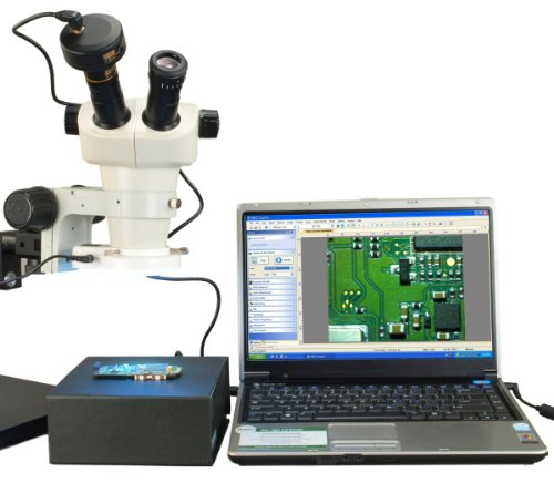 Omax 6X-50X Binocular Zoom Stereo Microscope+Boom Stand+54 Led Ring Light+5.0Mp Usb Camera