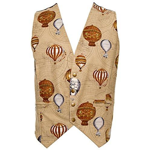Golden-Steampunk-Mens-Balloon-Print-Waistcoat