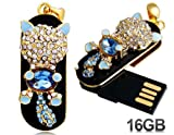 Crystal Decorated Cat Design 16G USB Flash Drive (Blue)