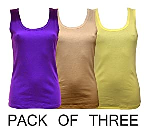 rock & rock Women's Premium Vest Pack Of Three Stone,Deep Purple,Lemon XL X-Large