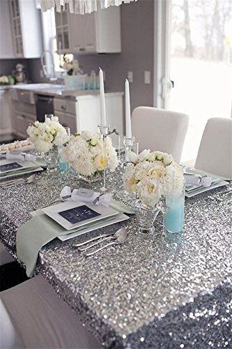 Pony Dance Stylish Halloween Party Solid Europe Luxurious Sparkling Glitter Sequins Hand Made Home Decorative Party Café Table Cloth, 53