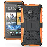 Heartly Flip Kick Stand Hard Dual Armor Hybrid Rugged Bumper Back Case Cover For HTC One M7 Single Sim - Orange...
