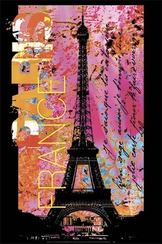 Paris France Pop Art Eiffel Tower Poster