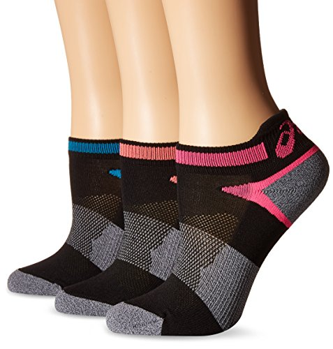 ASICS Women's Quick Lyte Cushion Single Tab Running Socks, Black Assorted, Medium,Pack of 3