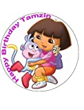 "7.5"" Dora the Explorer Personalised Edible Icing Cake Topper, Use the greeting section on Checkout to send us message"