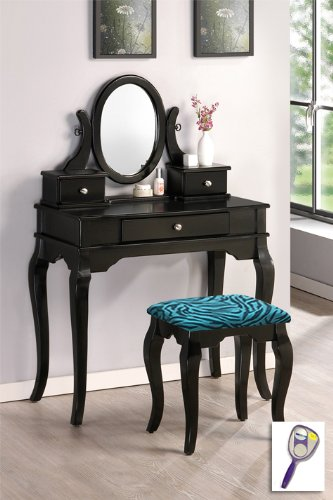New Black Finish Wooden Make Up Vanity Table with Mirror & Blue Zebra Print Themed Bench