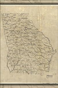 24x36 Poster; Map Of Georgia 1893; Antique Reprint