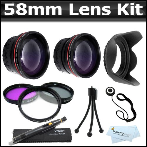 58Mm 2X Telephoto Hd Zoom Lens + 0.45X Wide Angle Lens + Multi-Coated 3 Piece Filter Kit (Uv-Cpl-Fld) + Lens Hood + More For Canon Eos Rebel T4I Xt Xti Xsi T2I T3I T2 T3 40D 50D 60D 1000D 550D That Use Canon Lenses (18-55Mm, 75-300Mm, 50Mm 1.4, 55-200Mm