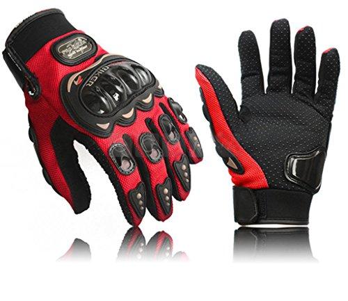 Coolsky Black Short Sports Leather Motorcycle Motorbike Summer Gloves (Red, Medium)
