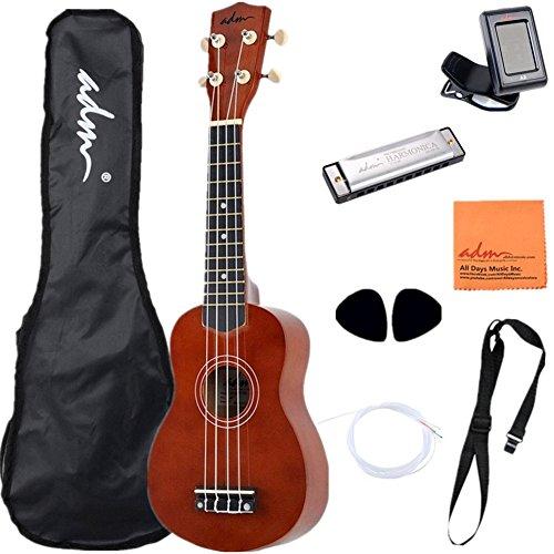 adm-21-economic-soprano-ukulele-start-pack-with-gig-bag-tuner-and-harmonica-brown