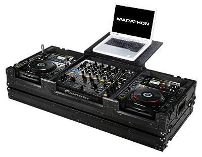 Marathon Flight Road Case MA-DJM9HCDJ2KWLTBLK for 2 CD Players - Pioneer CDJ-2000 with DJM-900 Mixer with Wheels with Laptop Shelf, Black