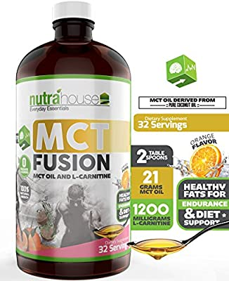 MCT Oil with L-Carnitine, Vitamin B5, Vitamin B12, Emulsified Orange Flavor. MCT Fusion 32 Servings. Emulsified Medium Chain Triglycerides