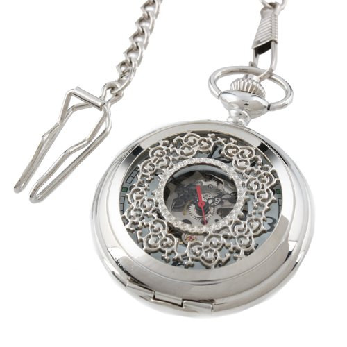 ESS Men's Silvered Stainless Steel Case White Dial Hand-Wing Up Mechanical Pocket Watch with Chain WP057