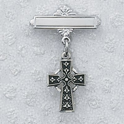 Sterling Silver Baby Pin Pendant Celtic Cross Baby Pin, Boxed