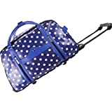 Miss Lulu Holdall Travel Holiday Weekend Bag Suitcase Hand Luggage Trolley Polka Dot Spotty Navy