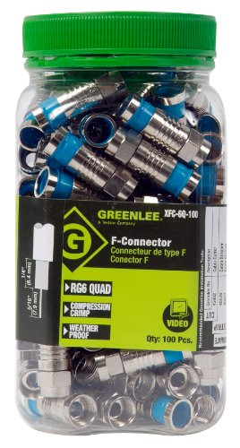Greenlee XFC-6Q-100 Weatherproof Compression F-Style Connectors, RG6 Quad, 100-Pack