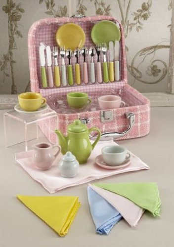 Girls Deluxe Porcelain Toy Tea Set with Mini Utensils in Pink Case - Buy Girls Deluxe Porcelain Toy Tea Set with Mini Utensils in Pink Case - Purchase Girls Deluxe Porcelain Toy Tea Set with Mini Utensils in Pink Case (Toy Tea Sets, Toys & Games,Categories,Pretend Play & Dress-up,Sets,Cooking & Housekeeping,Dishes & Tea Sets)